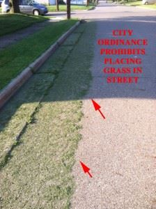 City Ordinance Prohibits Placing Grass in Street